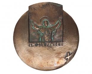 """Czesław Dźwigaj - """"Święty Jan Paweł II"""" (awers), brąz patynowany,..."""